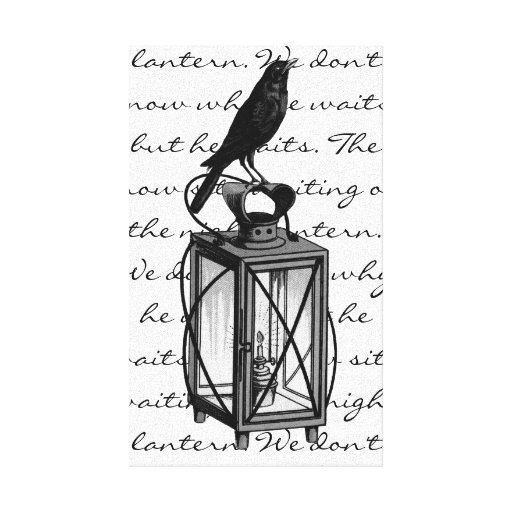 Crow Sits On The Night Lantern Gallery Wrapped Canvas