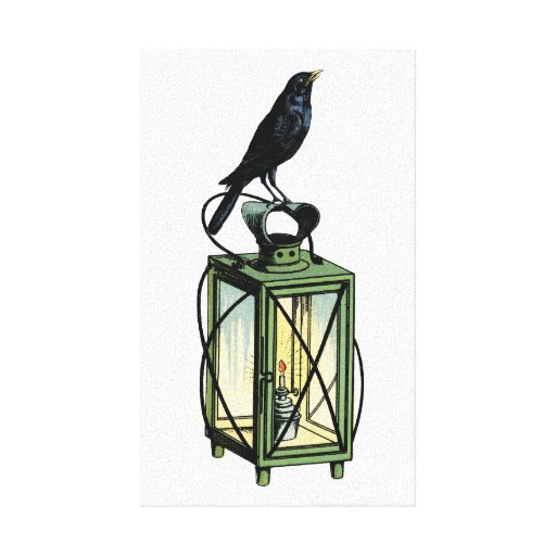Crow Sits On The Night Lantern Canvas Prints