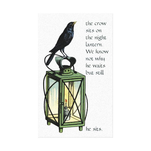 Crow Sits On The Night Lantern Stretched Canvas Print