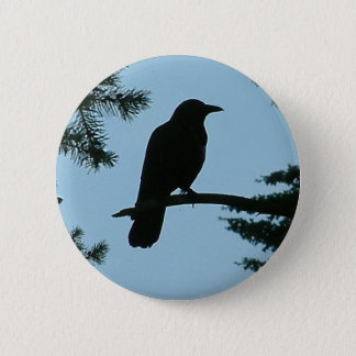 Crow Sitting in Tree Button