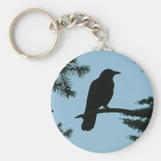 Crow Sitting in Tree Key Chains