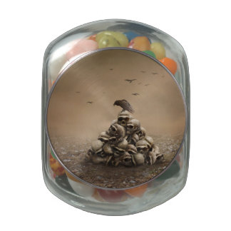 Crow Sitting On A Pile Of Sculls Glass Candy Jar