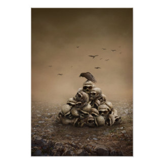 Crow Sitting On A Pile Of Sculls Print