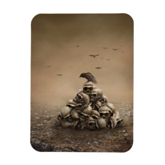 Crow Sitting On A Pile Of Sculls Vinyl Magnets