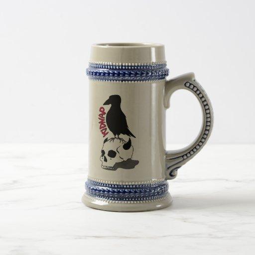 crow-skull beer stein