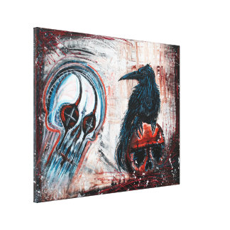 Crow Skull Stretched Canvas Print
