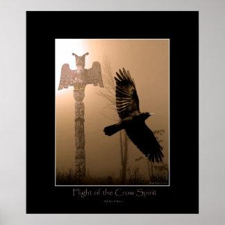 CROW SPIRIT & Totem Pole Art Poster