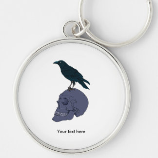 Crow Standing On A Human Skull Keychain