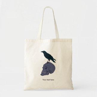 Crow Standing On A Human Skull Tote Bag