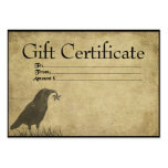 Crow & Star- Prim Gift Certificate Cards Business Card Templates