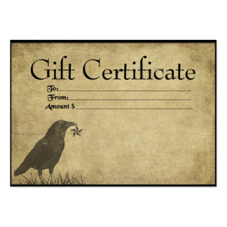 Crow Star- Prim Gift Certificate Cards Business Card Templates