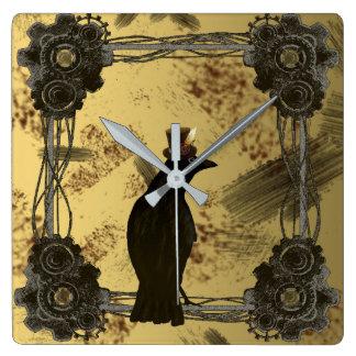 Crow Steampunk Mixed Media Art Style Clock