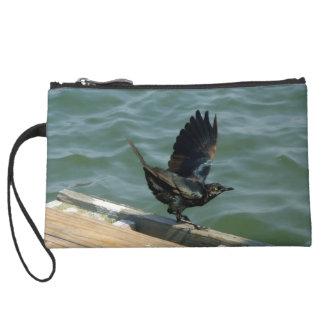 Crow Suede Wristlet Wallet