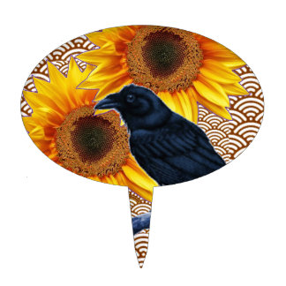 Crow Sunflowers Brown Pattern Gifts Cake Topper
