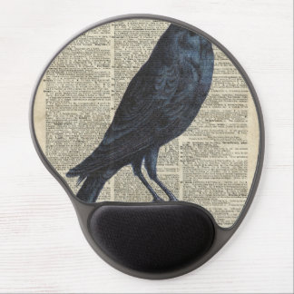 Crow Vintage Illustration At Old Encyclopedia Page Gel Mouse Pad