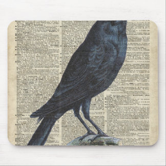 Crow Vintage Illustration At Old Encyclopedia Page Mouse Pad