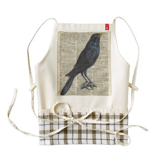 Crow Vintage Illustration At Old Encyclopedia Page Zazzle HEART Apron