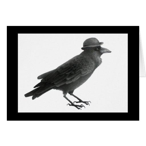 Crow w/ Vintage Bowler Hat Card