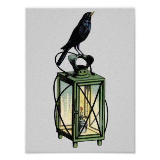 Crow Waits On The Night Lantern Poster