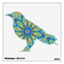 crow wall decal with kaleidoscope pattern