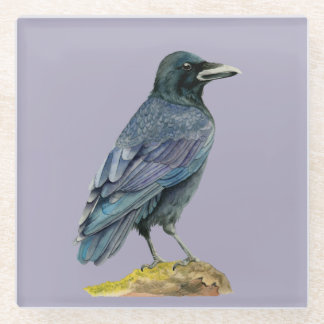 Crow Watercolor Painting Glass Coaster