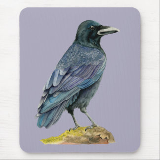 Crow Watercolor Painting Mouse Pad