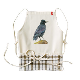 Crow Watercolor Painting Zazzle HEART Apron