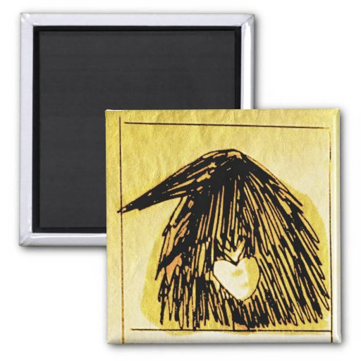 crow with a heART 2 Inch Square Magnet