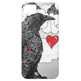 Crow with a heart phone case