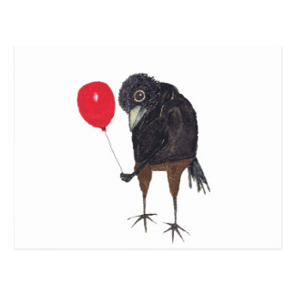 CROW WITH BALLOON POSTCARD
