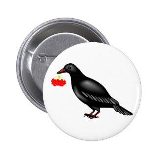 Crow With Berries Button
