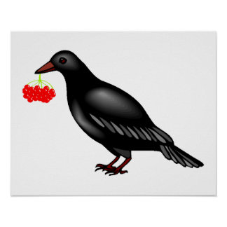 Crow With Berries Poster