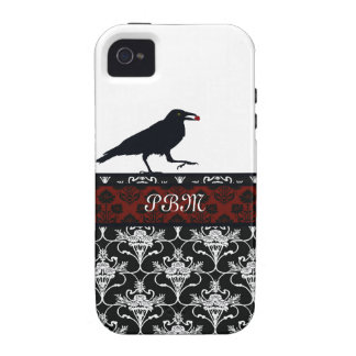 Crow with Black and Red Damask Vibe iPhone 4 Cover