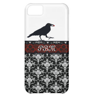 Crow with Black and Red Damask iPhone 5C Case