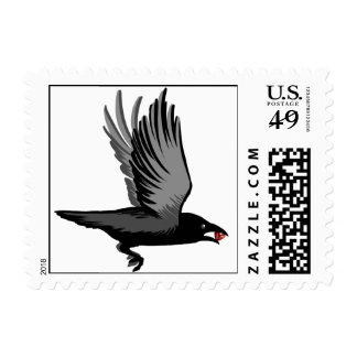 Crow With Heart Postage Stamp