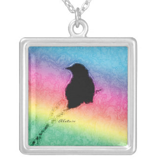 Crow with Rainbow Silver Plated Necklace