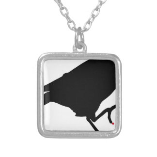 crow with red pixel nails square pendant necklace