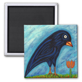 Crow with Tulip Magnet Refrigerator Magnets
