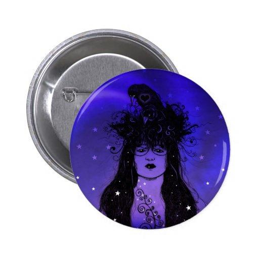 Crow Woman Pinback Button