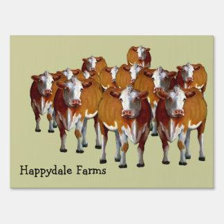 Crowd of Cows: Farm Sign: Oil Pastel Art