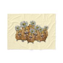 Crowd of Cute Hamsters Holding Daisies: Art Fleece Blanket