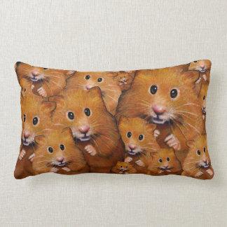 Crowd of Cute Hamsters: Original Art Lumbar Pillow
