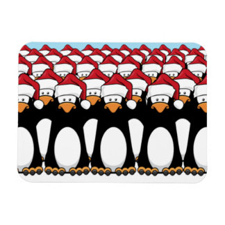 Crowd of Festive Penguins Magnet