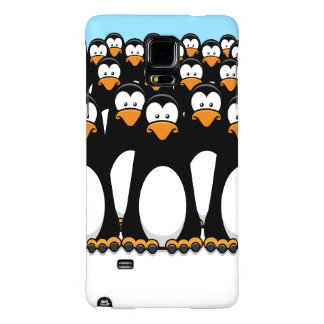 Crowd of Funny Cartoon Penguins on Snow Galaxy Note 4 Case