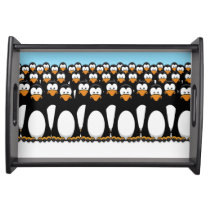 Crowd of Funny Cartoon Penguins on Snow Serving Tray