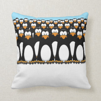 Crowd of Funny Cartoon Penguins on Snow Throw Pillow