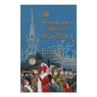 Crowd of Happy Revelers on New Year's Eve Poster