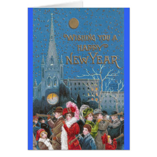 Crowd of Happy Revelers with Horns on New Year's Card