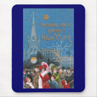 Crowd of Happy Revelers with Horns on New Year's Mouse Pad