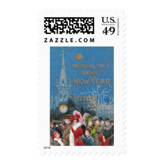 Crowd of Happy Revelers with Horns on New Year's Postage Stamp
